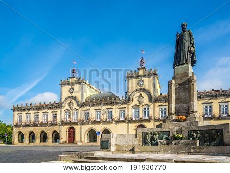 View at the City hall with monument in Barcelos - Portugal