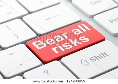 Insurance concept: computer keyboard with word Bear All Risks, selected focus on enter button background, 3D rendering