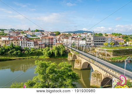 View at the Barcelinhos town with Cavado river in Portugal