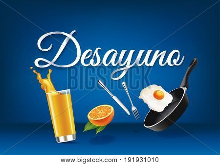 Breakfast in spanish language paper hand lettering calligraphy. Vector realistic illustration with food drink objects and text.