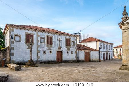 View at the Town hall with pillory in Rates - Portugal