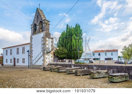 View at the Old monastery with tombs in Rates in Portugal