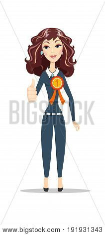 winner woman with a medal. Stock vector illustration for poster, greeting card, website, ad, business presentation, advertisement design.