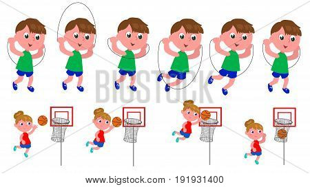 Boy jumping the rope and girl playing basket moving sequence vector illustration