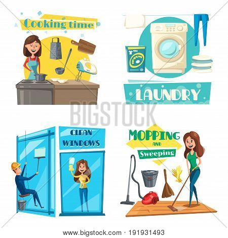 Home cleaning, cooking and laundry. Vector woman cook at kitchen with dishware of saucepan and tableware utensils, washing machine and linen, man cleans window or mopping room with vacuum cleaner