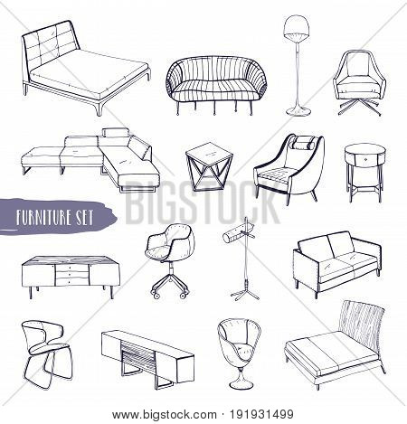 Set of various furniture. Hand drawn different types sofas, chairs and armchairs, bedside tables, beds, tables, lamps collection. Black and white vector sketch illustration