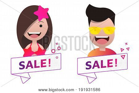Vector Sale ribbon banner sign with male and female avatar set. Emblem logo badge. Color gradient. Flat material design. Template for citybanner website design cover. White background. Illustration. Eps10.