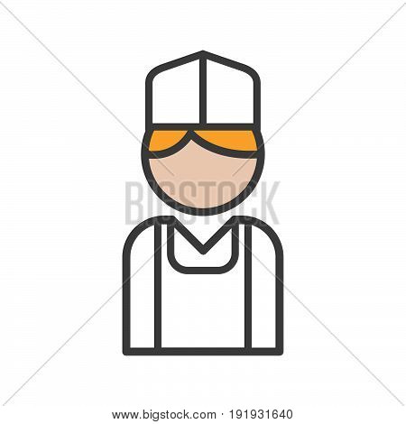 Baker icon with blond hair on white background