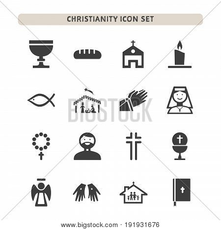Isolated christianity icons set on white background