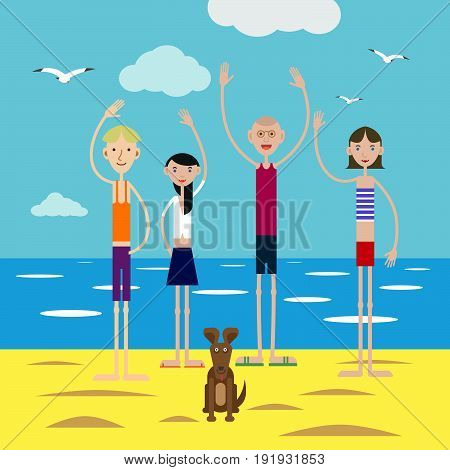 Group of happy young people in company with a small puppy invites to rest on the beach