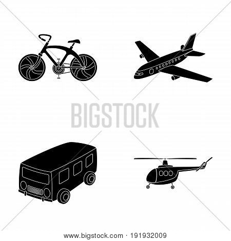 Bicycle, airplane, bus, helicopter types of transport. Transport set collection icons in black style vector symbol stock illustration .