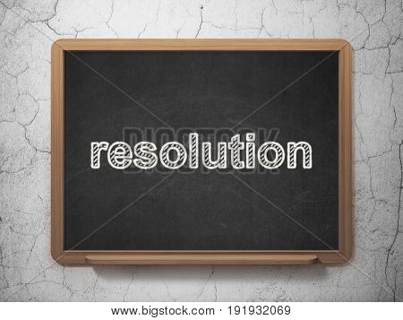Law concept: text Resolution on Black chalkboard on grunge wall background, 3D rendering