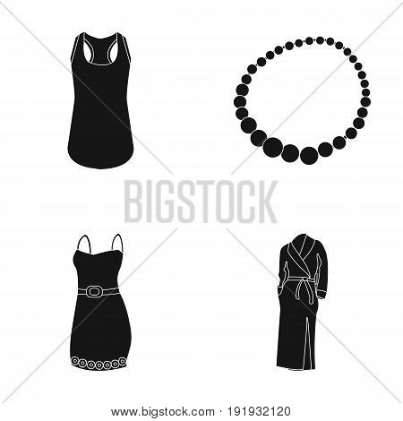 T-shirt, beads, summer women's sarafan on straps with a belt, a home gown. Women's clothing set collection icons in black style vector symbol stock illustration .