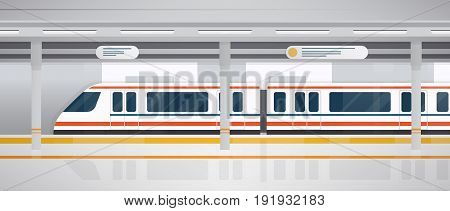 Subway, underground platform with modern train. Horizontal colorful vector illustration in flat style