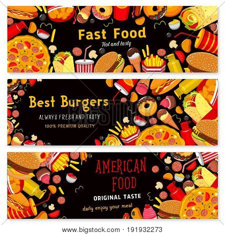 Fast food banners set for restaurant. Vector design of cheeseburger or hamburger sandwich, donut cake dessert and ice cream, hot dog, pizza and fastfood snacks and meals for restaurant or cafe