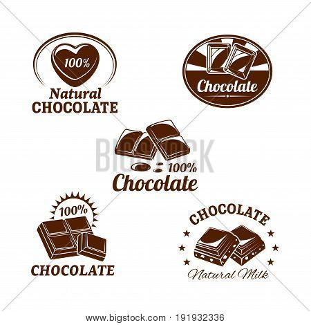 Chocolate desserts icons set of fondant and choco hearts for confectionery and sweets product labels or pack design templates. Isolated symbols of milk chocolate bars with natural nuts or raisins