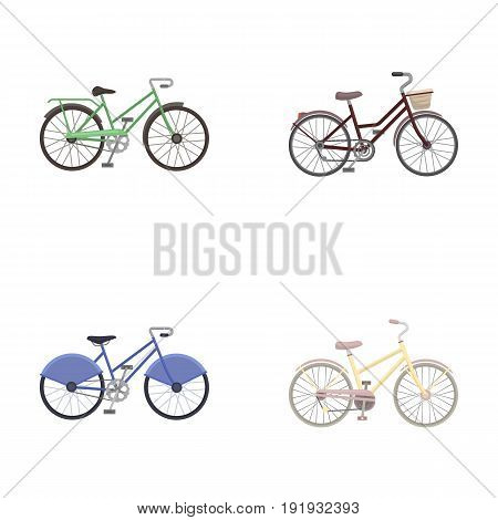 Sports bike and other types.Different bicycles set collection icons in cartoon style vector symbol stock illustration .