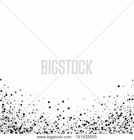 Dense Black Dots. Abstract Bottom With Dense Black Dots On White Background. Vector Illustration.