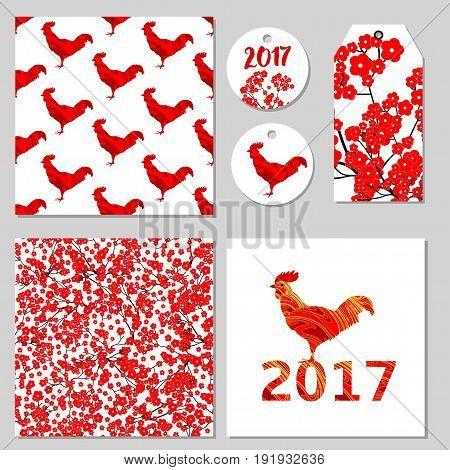 Red flowers and roosters seamless patterns card labels tag. Vector set.