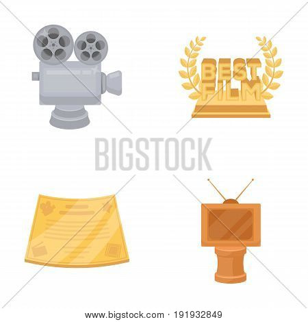 Silver camera. A bronze prize in the form of a TV and other types of prizes.Movie awards set collection icons in cartoon style vector symbol stock illustration .