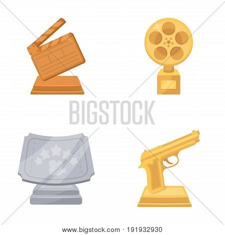 Gold pistol, silver prize for the best supporting role and other prizes.Movie awards set collection icons in cartoon style vector symbol stock illustration .