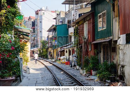 Railroad Tracks On A Street In The Center Of Hanoi