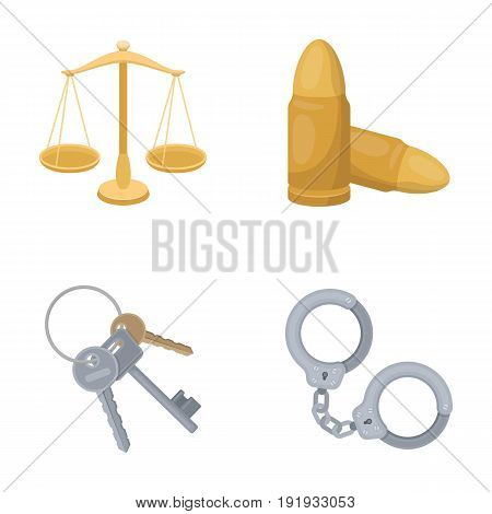 Scales of justice, cartridges, a bunch of keys, handcuffs.Prison set collection icons in cartoon style vector symbol stock illustration.