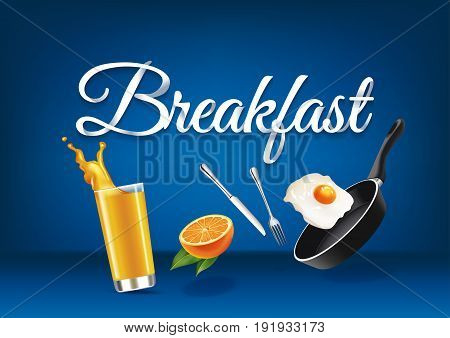 Breakfast paper hand lettering calligraphy. Vector realistic illustration with food drink objects and text.