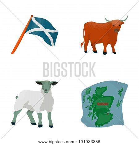 The state flag of Andreev, Scotland, the bull, the sheep, the map of Scotland. Scotland set collection icons in cartoon style vector symbol stock illustration .