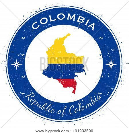 Colombia Circular Patriotic Badge. Grunge Rubber Stamp With National Flag, Map And The Colombia Writ