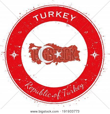 Turkey Circular Patriotic Badge. Grunge Rubber Stamp With National Flag, Map And The Turkey Written