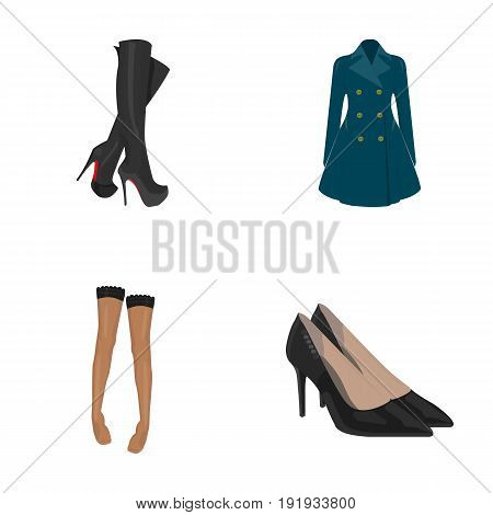 Women's high boots, coats on buttons, stockings with a rubber band with a pattern, high-heeled shoes. Women's clothing set collection icons in cartoon style vector symbol stock illustration .
