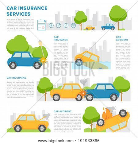Concept of car insurance against various incidents. Page template with place for text and different car accidents. Colorful vector, cartoon style