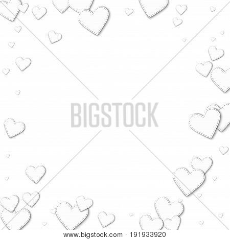 Cutout White Paper Hearts. Bordered Frame With Cutout White Paper Hearts On White Background. Vector