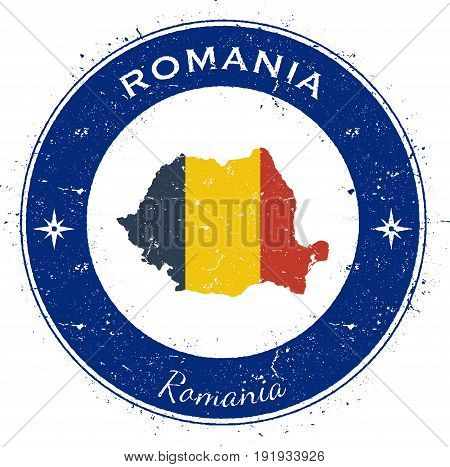Romania Circular Patriotic Badge. Grunge Rubber Stamp With National Flag, Map And The Romania Writte