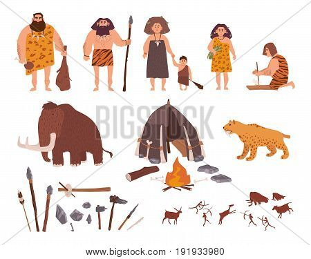 Set of Stone Age theme. Primitive people, children, mammoth, dwelling, hunting and labor tools, saber-toothed tiger, fire, rock carvings. Colorful vector collection in cartoon style
