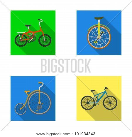 Retro, unicycle and other kinds.Different bicycles set collection icons in flat style vector symbol stock illustration .