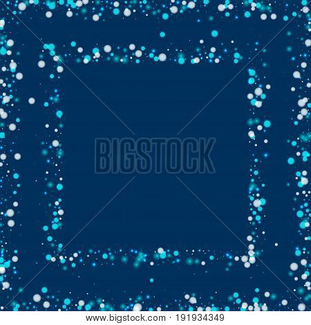 Beautiful Falling Snow. Square Abstract Frame With Beautiful Falling Snow On Deep Blue Background. V