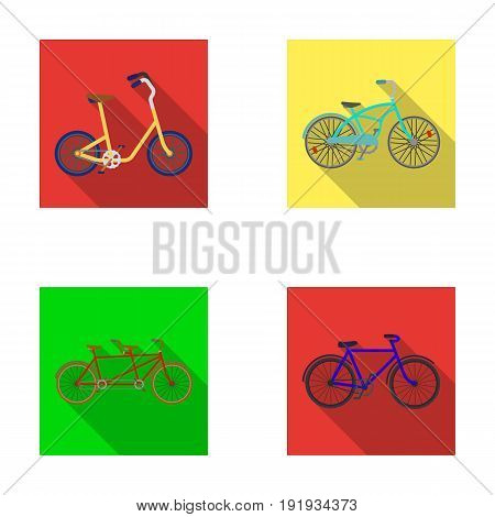 Children's bicycle, a double tandem and other types.Different bicycles set collection icons in flat style vector symbol stock illustration .