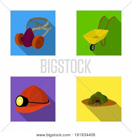 Headphones and raspirator, wheelbarrow, helmet with a lantern, the entrance to the mine.Mining industry set collection icons in flat style vector symbol stock illustration .
