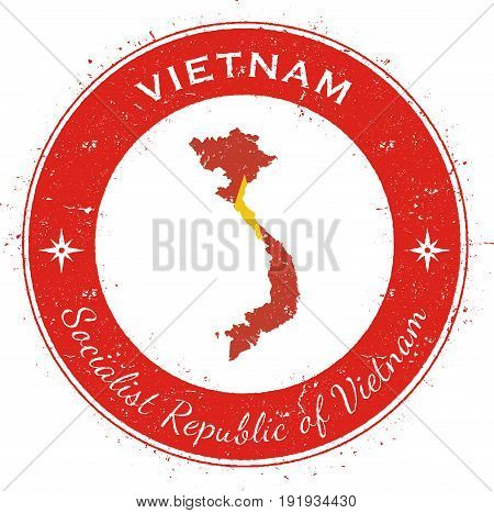 Vietnam Circular Patriotic Badge. Grunge Rubber Stamp With National Flag, Map And The Vietnam Writte
