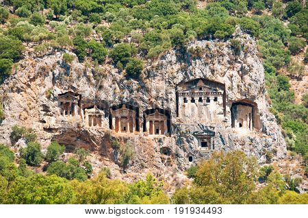 Famous Lycian Tombs of ancient Caunos city, Dalyan, Turkey.
