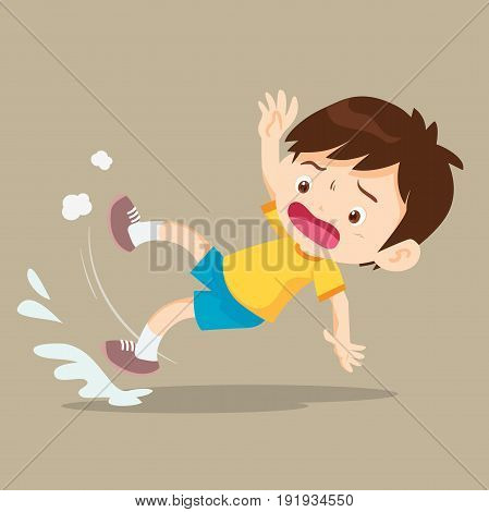 Boy Falling On Wet Floor
