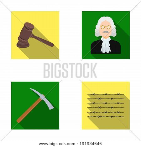 Judge, wooden hammer, barbed wire, pickaxe. Prison set collection icons in flat style vector symbol stock illustration .