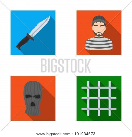 Knife, prisoner, mask on face, steel grille. Prison set collection icons in flat style vector symbol stock illustration .