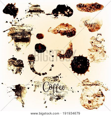 Collection graphic  brushstroke elements of coffee spots