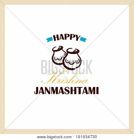 Happy Janmashtami. Color badge with congratulations on white background. Can be used for labels or banners or posters or prints for t shirts for indian holiday. Vector illustration.