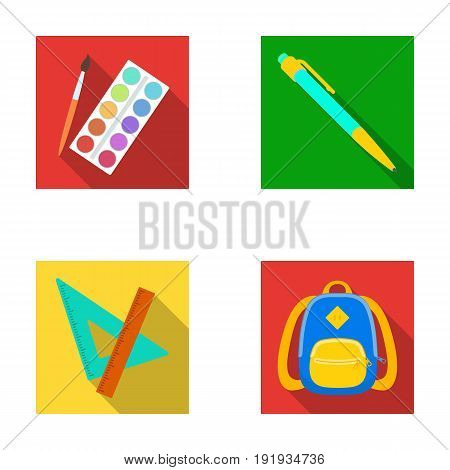 Multicolored paints with a tassel, pen, triangle and ruler, satchel, briefcase. School and education set collection icons in flat style vector symbol stock illustration .