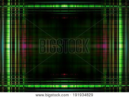 Green blurred lights border on a black background