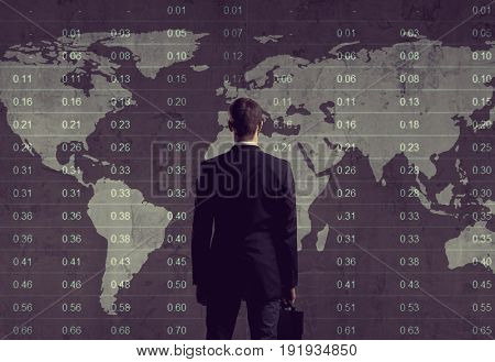 Businessman standing over diagram. World map background. Business, office, career concept.
